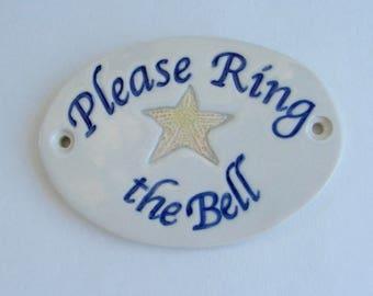 "Ceramic Door Plaque, ""Please Ring the Bell"" Starfish"