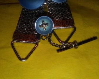 Vintage Mens Stainless Silver Blue Cross Cufflinks & Tie Tack