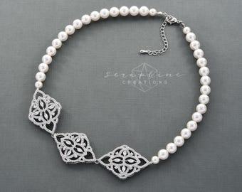 Bridal Necklace, Bridal Jewelry, Wedding Necklace, Pearl Necklace, Pearl Wedding Necklace Swarovski Cubic Zirconia Statement Thalia N34