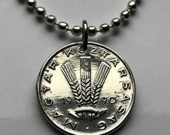 1990 Hungary 20 Filler coin pendant Hungarian wheat sheaf Budapest Magyars Miskolc Szeged Pecs Jasz Pannonian Basin Csangos Ugrian n002602