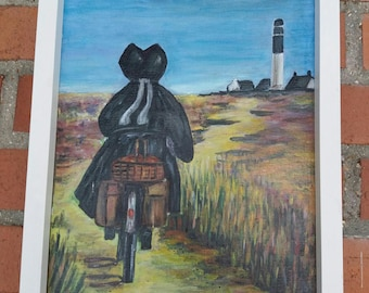 painting on canvas Breton bicycle acrylic painting