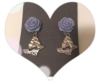 Rosey sailboat earrings