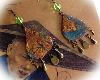 Earrings, Bohemian, Teardrop shape, gold and turquoise.