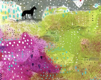 Black Horse Print- Instant Download , Modern Abstract Horse Art Print , Large Wall Art and Horse Lover Gift