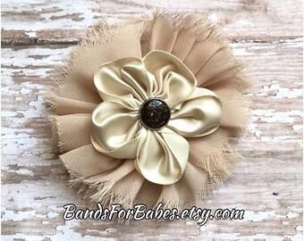 Tan and Beige Frayed Chiffin and Satin Flower Hair Clip, Girls Light Brown Hair Clip, Tan Flower Hair Accessory, Bridesmaid Hair Clip, Bow