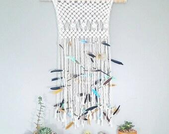 Mermaid Feather Macrame Curtain- Modern Macrame- Wall Accent Bohemian Decor- Feather Wall Hanging- Boho Decor- Hippie Decor- BohoChic- Birch