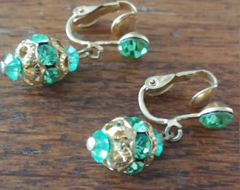 Light Green Dangle Clip on Earrings