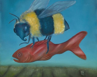 Original surreal framed oil painting 17x17: Quarry (bumble bee with fortune telling fish over landscape)