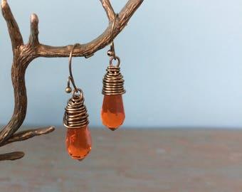 Orange crystal tear drop earrings