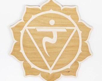 Solar Plexus Chakra Wood Sign - Spiritual Wall Art, Wood Chakra, Chakra Symbol, Solar Plexus Symbol, Chakra Sign, Manipura Chakra