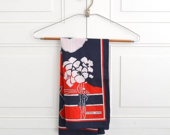 1980s Norma Dori Red, White, and  Navy Floral Scarf