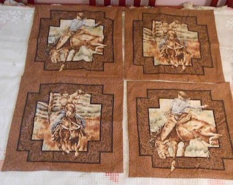 """4 COWBOY PILLOW COVERS & Wall Hanging Set, Western Ranch Theme Bucking Bronco Horses Roping, Rustic Cabin Decor Earth Browns Man Dad Boy 16"""""""