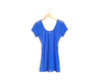 SALE // Size XS // MESH Tunic // Royal Blue - Beach Cover-Up - Sheer - Vintage '90s.