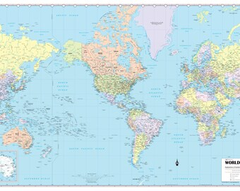 """WORLD Wall Map USA Center Political Poster 36""""x24"""" - Rolled  - 2018"""