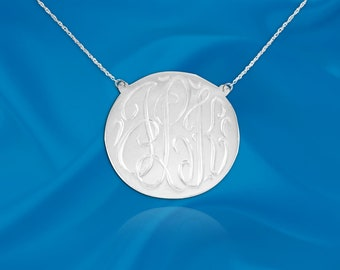 Monogram Disc Necklace - .75 inch Sterling Silver - Hand Engraved - Personalized Disc Monogram - Initial Necklace - Made in USA