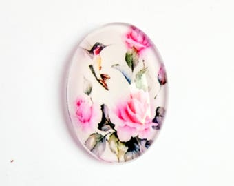 Glass cabochon 18x25mm decor birds and roses