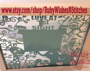 Baby Ultrasound Sonogram Scan Papercut for frame. Love At First Sight. Great baby shower gift!