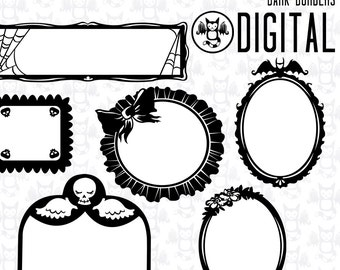 Dark Borders - Instant Digital Download graphics for your personal use - 6 Images plus printable  sheet