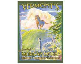 Morgan Horse Vermont Travel Poster
