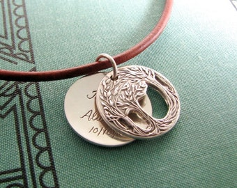 Fine Silver Personalized Swing Locket with Necklace, Openwork Trees, Original and Exclusive Design by SilverWishes