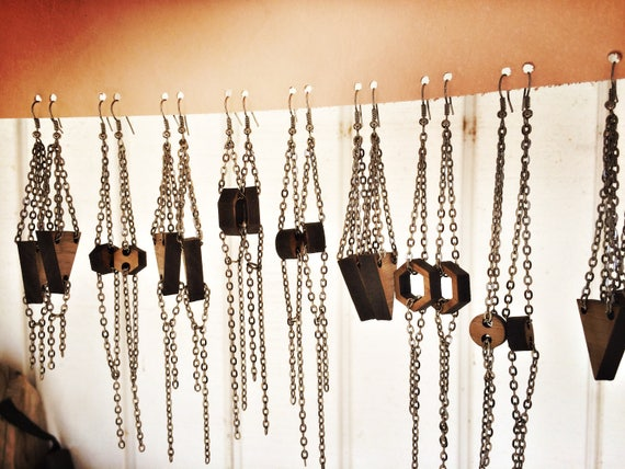 Wood Earrings | Simple shapes | gunmetal chain | graduation gift