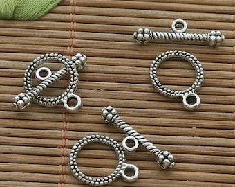 80sets dark silver tone toggle clasp h3530