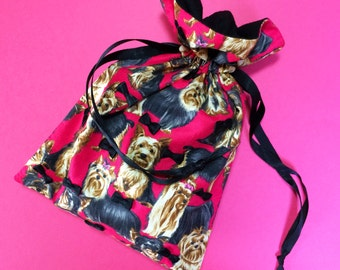 Red Yorkshire Terrier Drawstring Pouch with Black Ribbons / Animal Drawstring Bag / Handmade Fabric Pouch