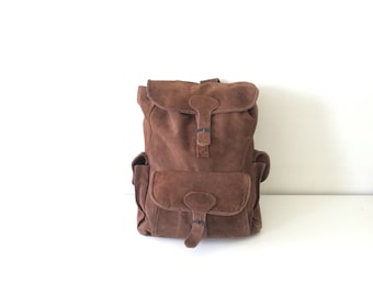 Vitnage Suede Backpack - Brown Backpack - 90's Style Backpack - School Backpack - Back to School Cool