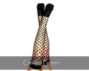 CROCHET PATTERN - Lace Crochet Socks Pattern Women Stocking Crochet Pattern Instructions Diy Mesh Fishnet Lacy Over Knee Socks PDF - P0045