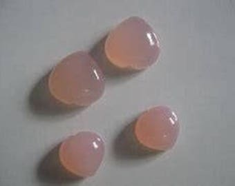 10 pieces  pink chalcedony heart cabochon natural gemstone calibrated size
