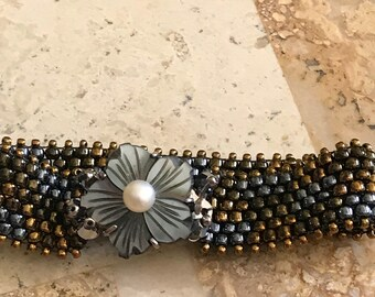 Bronze Silver and Gold beaded bracelet