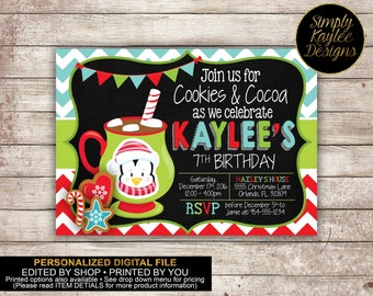 Cookies and Cocoa Birthday Party Invitation