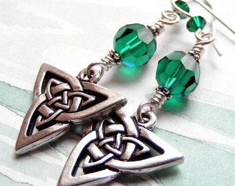 Emerald Isle Earrings Featuring Celtic Knots and Swarovski Crystal with French Hooks. Irish. Green. Swarovski.