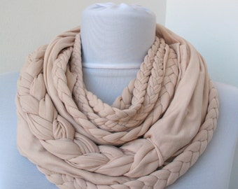 Loop Scarf - Infinity Jersey Scarf - Partially braided Circle Scarf - Scarf Nekclace