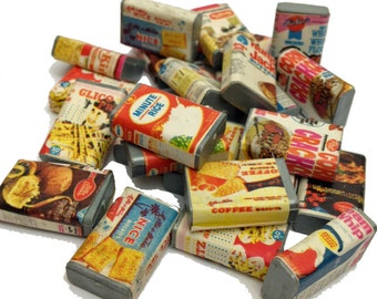 10pcs VINTAGE MINIATURE FOOD 1970s Plastic Dollhouse Boxed Groceries