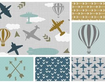 NEW! Vintage Air Crib Bedding | Minky Blanket, Crib Sheet and Crib Skirt  in Teal, Grey, Light Aqua and Brass