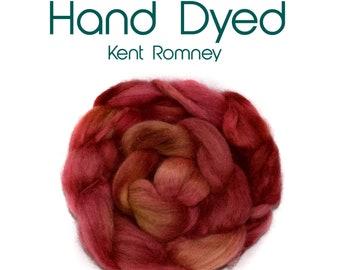 Hand dyed KENT ROMNEY - 100g / 3.5oz - dark pinks