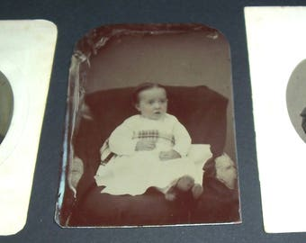 Lot of 3 vintage tintype photographs