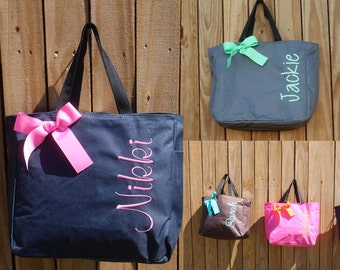 12 Monogrammed Totes, Bridesmaid Gift Tote Bags Personalized Tote, Bridesmaids Gift, Monogrammed Tote, Wedding Totes, Bridesmaid Bags