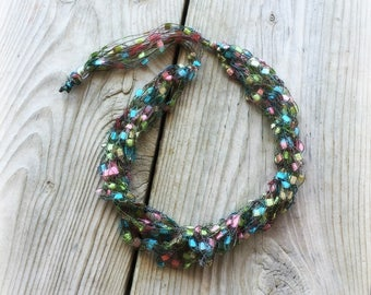 Ladder Yarn Necklace/Touch of Spring Crochet Ribbon Necklace/Crocheted Necklace/Fiber Jewelry/CLASSY Ladder Necklace (Ready to Ship)