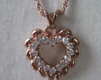 Heart Rose Gold Copper Crystal Necklace Clear Pendant Vintage