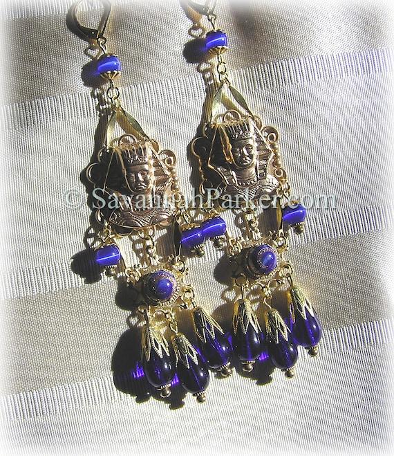 Antique Style 1920s Deco Egyptian Revival Earrings - Vintage Pharaohs Cobalt Blue Glass - Egyptian Jewelry - Egyptian Style Earrings