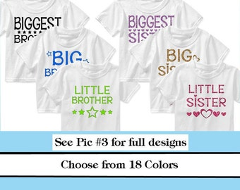 Little Big Biggest Sister Brother Iron On- Heat Transfer- new sibling iron on sister decal brother decal family photo iron ons