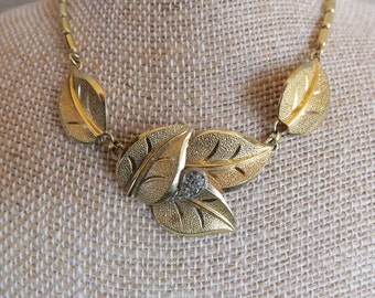 Vintage 1940's Necklace By Rodi & Weinenberger Floralia Gold Tone Leafs Made In Germany 1940's