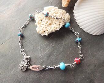 Anklet Bracelet, Lampwork Beads, Artisan Jewelry, Beach Jewelry, Summer Jewelry, Silver Twistie Links, Wire Wrapped, Trending Jewelry