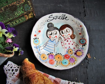 Handmade ceramic dish with illustration