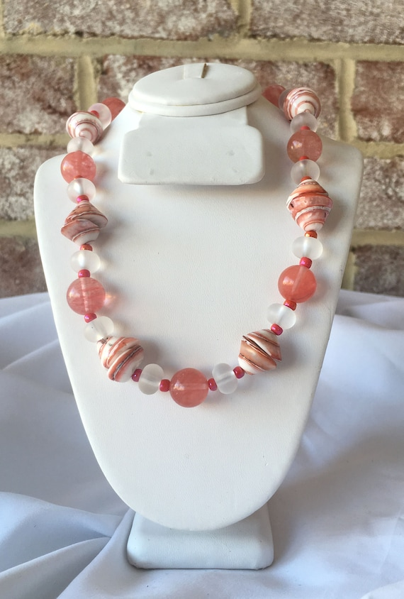 Red Aventurine and Pink Shell Necklace