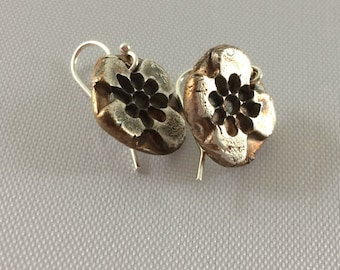 Earrings  .999 silver gold, black patina finish