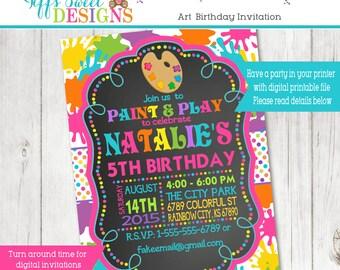 Art Party Birthday Invitation - Rainbow - Paint - Paint Splash