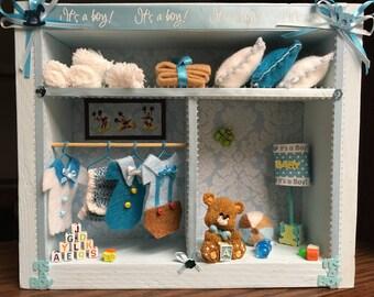 Original  Miniature Scene,  Shadow Box 3D  Baby Boy Shadow Box.It's a Boy. Decorated Shadow Box.